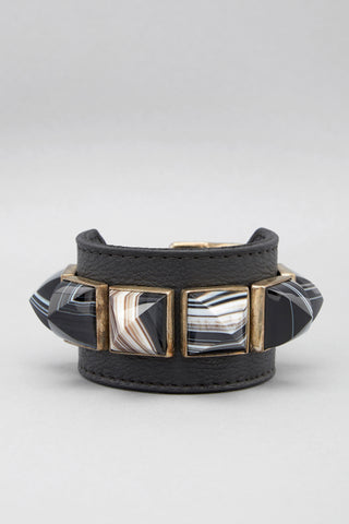 Sardonyx Pyramid Leather Cuff