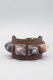 Botswana Agate Pyramid Leather Cuff