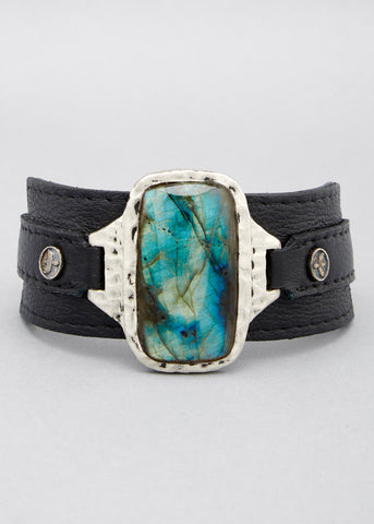 Labradorite Leather Cuff
