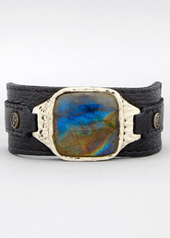 Labrodorite Leather Cuff