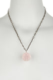 Rose Quartz Skull Necklace