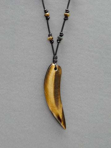 Tiger Eye Saber Tooth Necklace on Leather