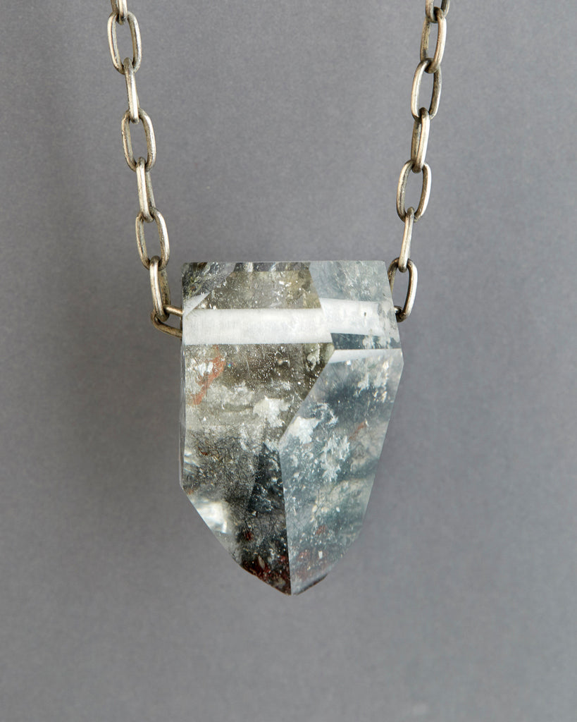 Quartz Crystal Necklace with Chlorite Inclusions