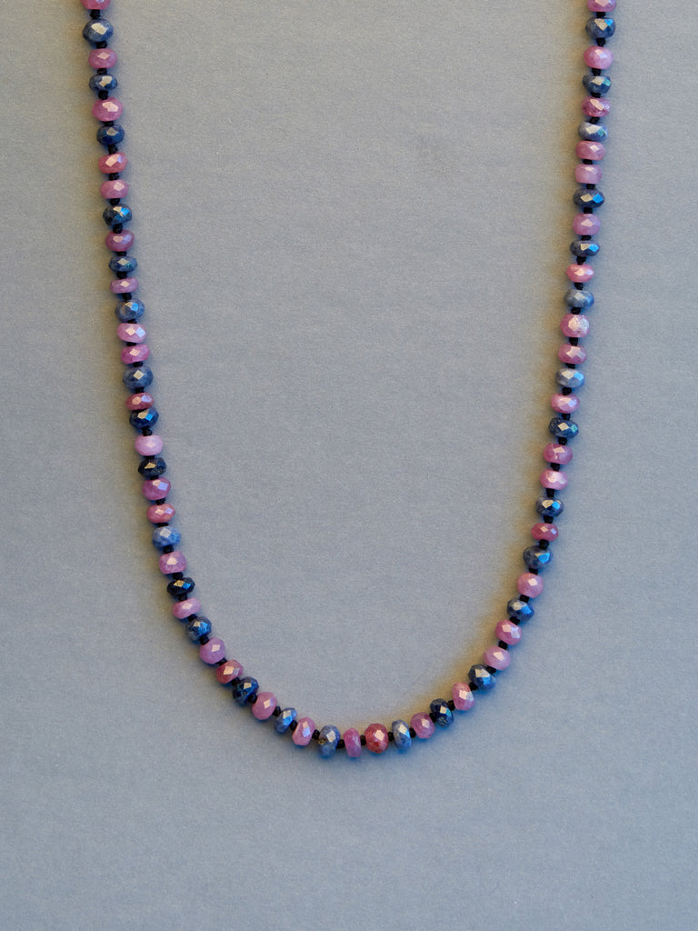 Pink & Blue Sapphire Necklace (4mm)