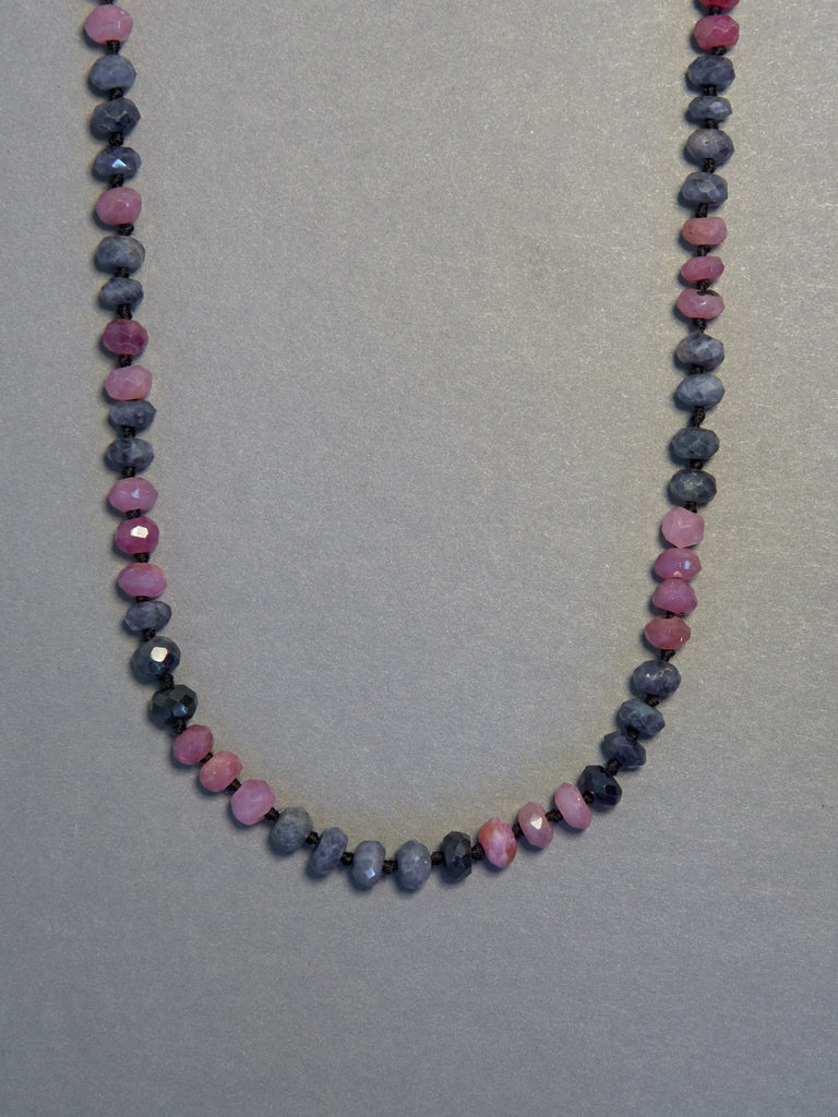 Pink & Blue Sapphire Necklace (5mm)
