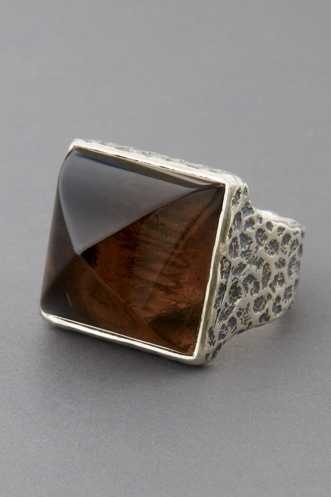 Smoky Quartz Pyramid Ring
