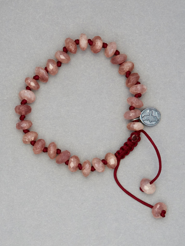 Raspberry Quartz Faceted Rondelle Bracelet