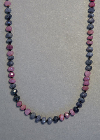 Sapphire Pink and Blue Necklace