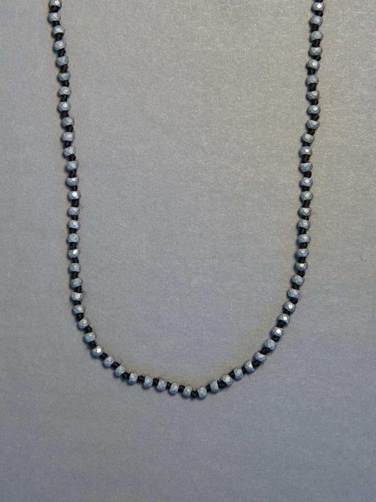 Silver Titanium Hematite Faceted Rondelle Necklace