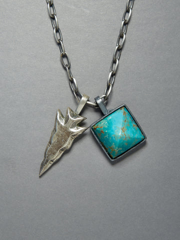 Sterling Arrowhead and Arizona Turquoise Pyramid Necklace