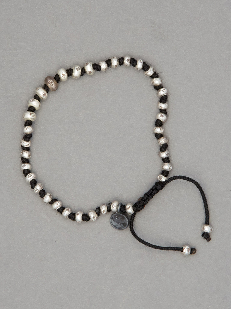 Sterling Silver Graduated Bead Bracelet on Black Cord (4-6mm)