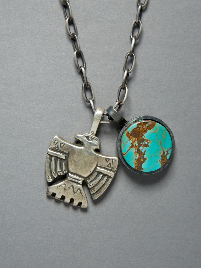 Sterling Thunderbird and Arizona Turquoise Charm Necklace