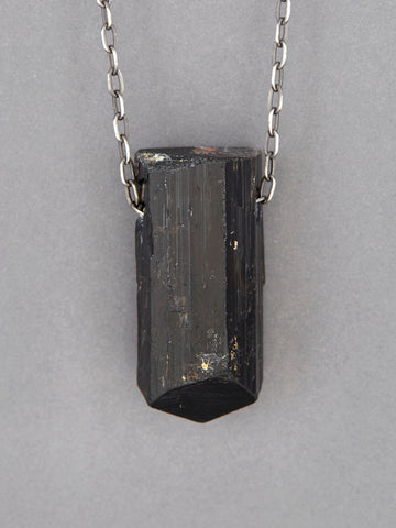 Black Tourmaline Crystal Necklace