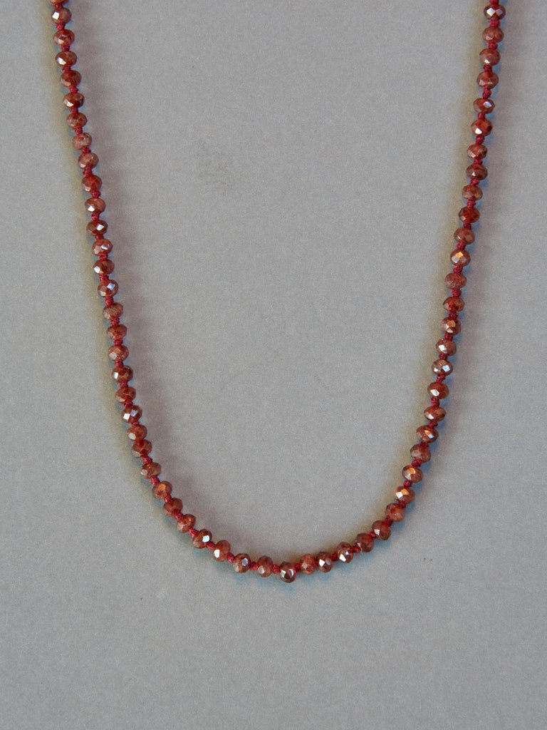 Red Garnet Faceted Rondelle Necklace