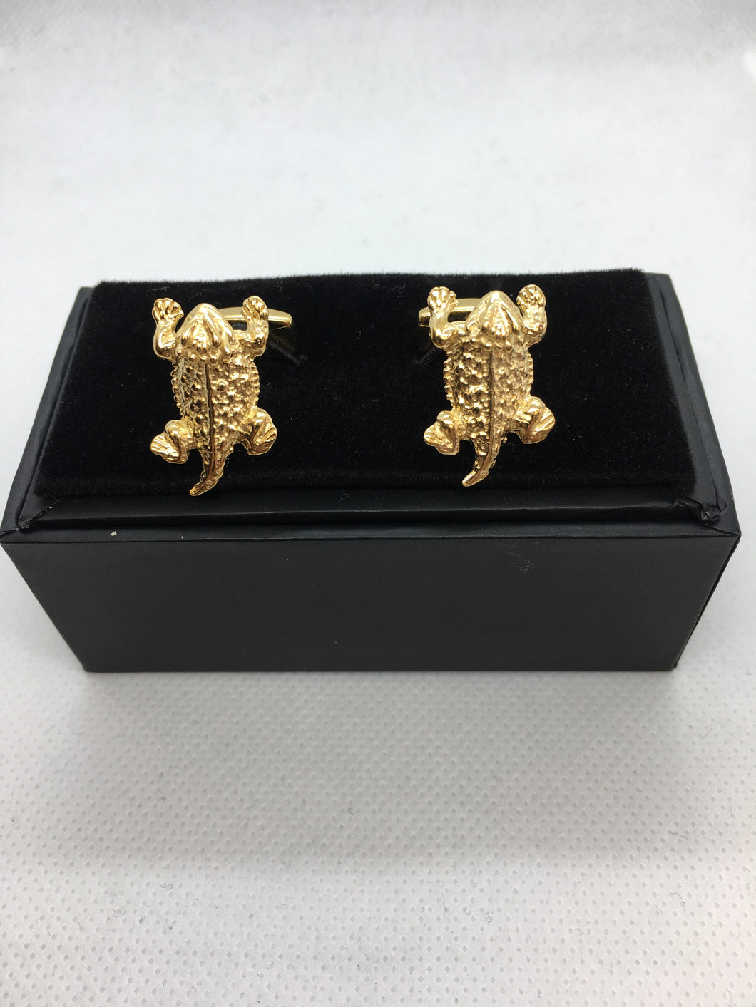 Horned Frog cufflinks gold plated