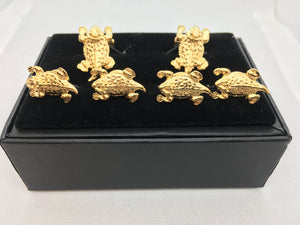 Horned Frog stud & cufflinks gold plated