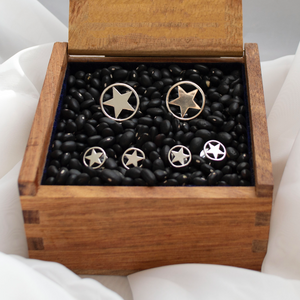 Circle Star Stud & Cuff Link Set - Sterling Silver