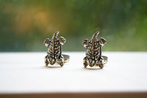 Horned Frog Cuff Links - Sterling Silver