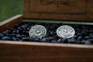Texas State Seal Stud & Cuff Link Set - Sterling Silver