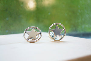 Circle Star Cuff Links - Sterling Silver