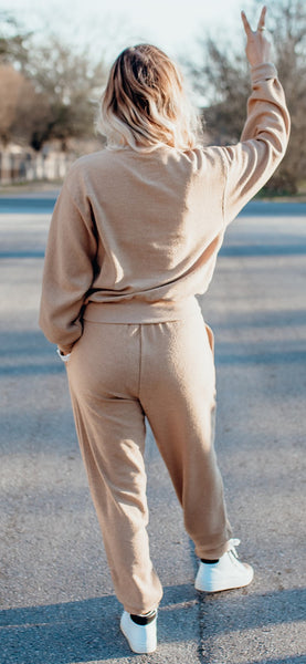Courtney High Rise Corded Joggers - Taupe