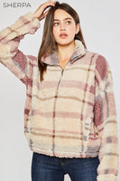 Penelope Sherpa Plaid Pullover