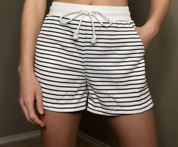 Aly Striped Drawstring Shorts