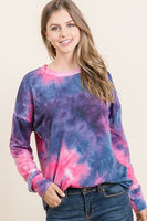 Long Sleeve Pink/ Blue Tie Dye
