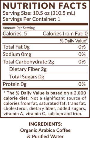 Old School Nitro Cold Brew Coffee Nutrition Facts