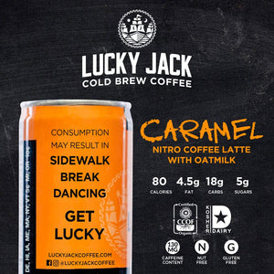 Lucky Jack Cold Brew Coffee, Nitro Latte Caramel with Oat Milk | Draft Pour, Ready to Drink 7.5 fl oz Cans, 12 pack, 130 mg Caffeine | Certified Organic, Gluten Free, Nut Free, Kosher