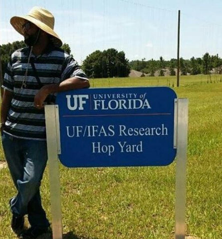 Rich at the University of Florida Hop Research Yard. Photo from @FloridaHops Instagram feed.