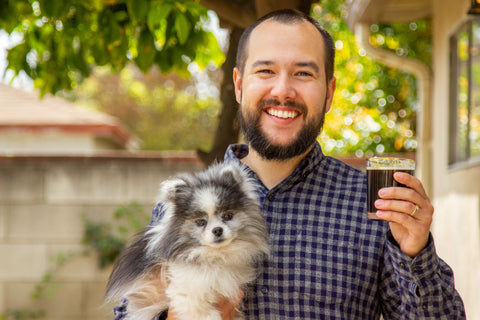Trent, pup and homebrew at TheBruSho World HQ.