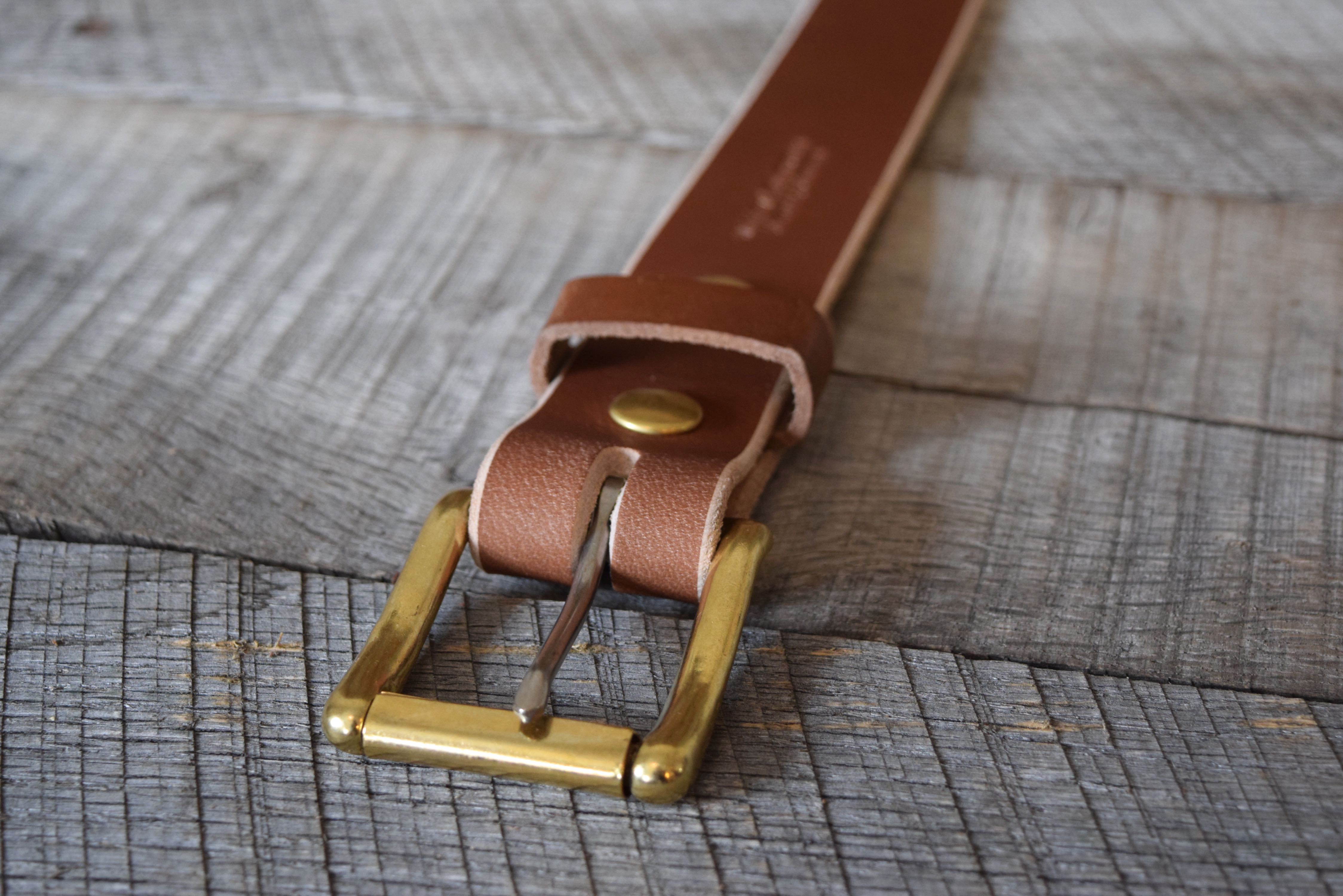 Brown Buffalo & Solid Brass-Stainless Steel Roller Buckle