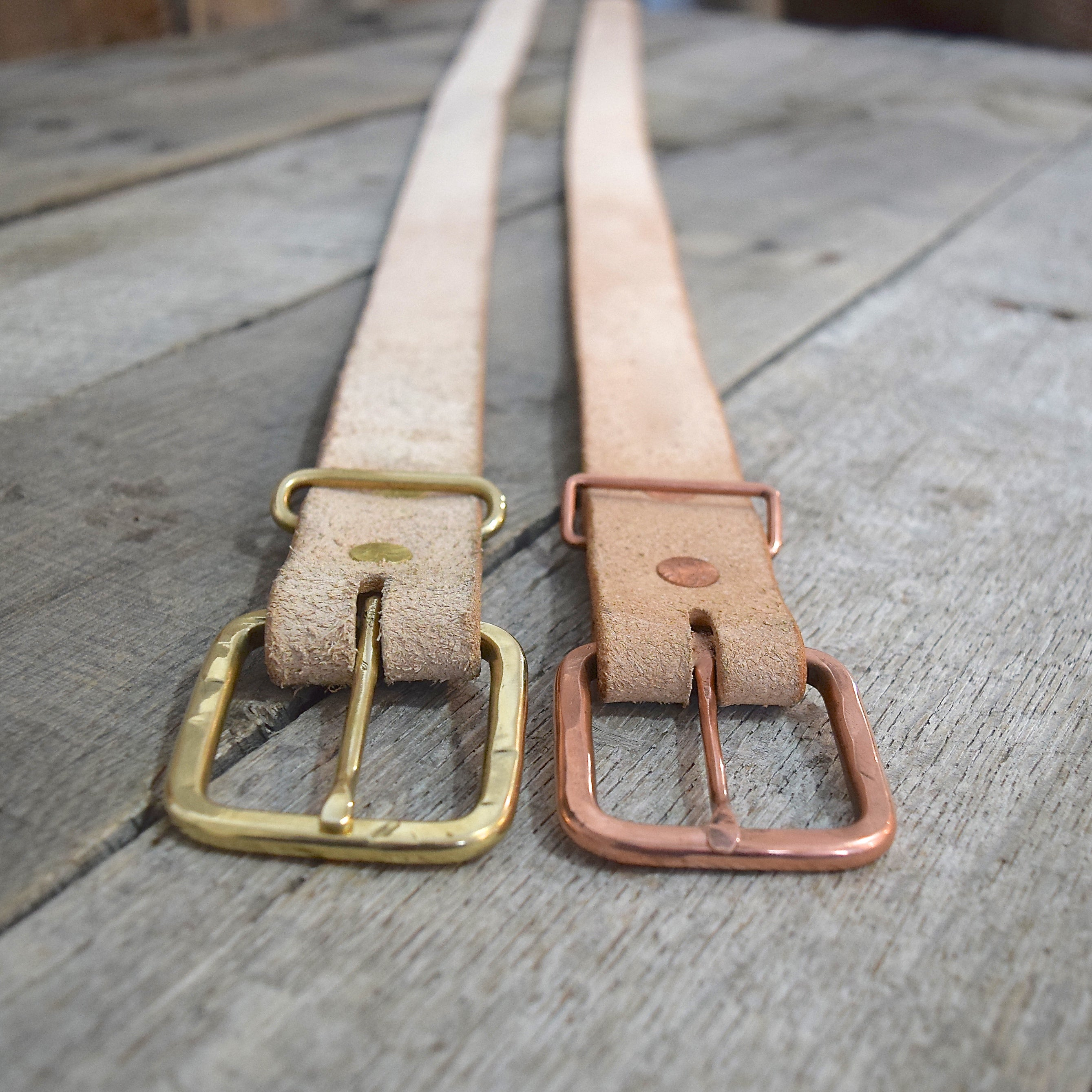 Rough-Out Veg Tan & Rustic Copper Buckle