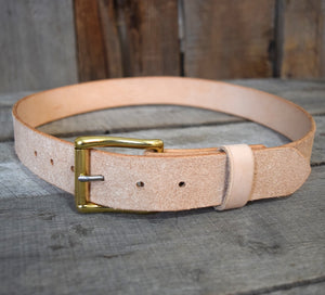 Rough-Out Veg Tan & Brass/Stainless Steel Roller Buckle
