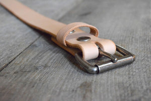 Natural Veg Tan & Antique Nickel Roller Buckle
