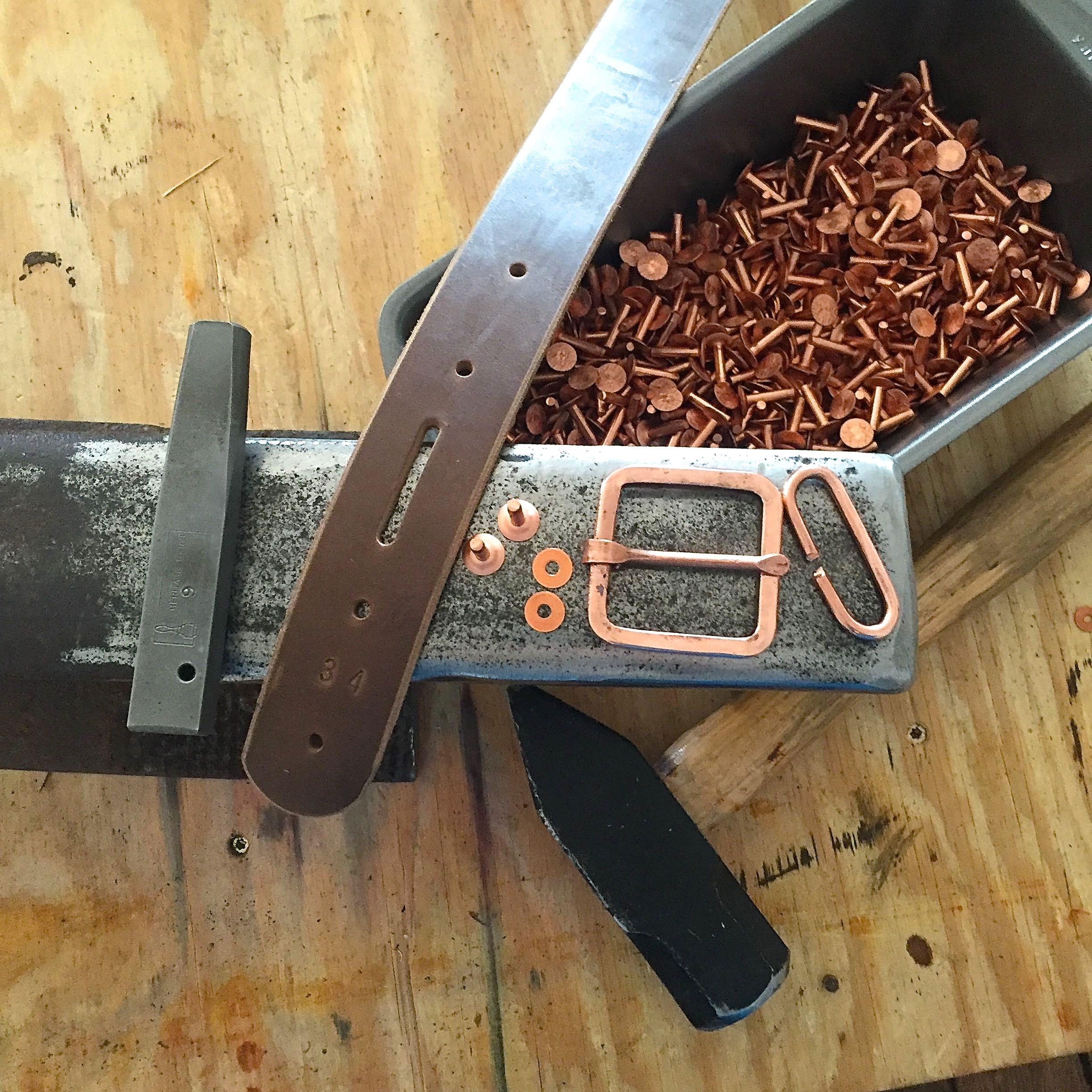 Copper &  Natural Brown Horween Chromexcel Belt