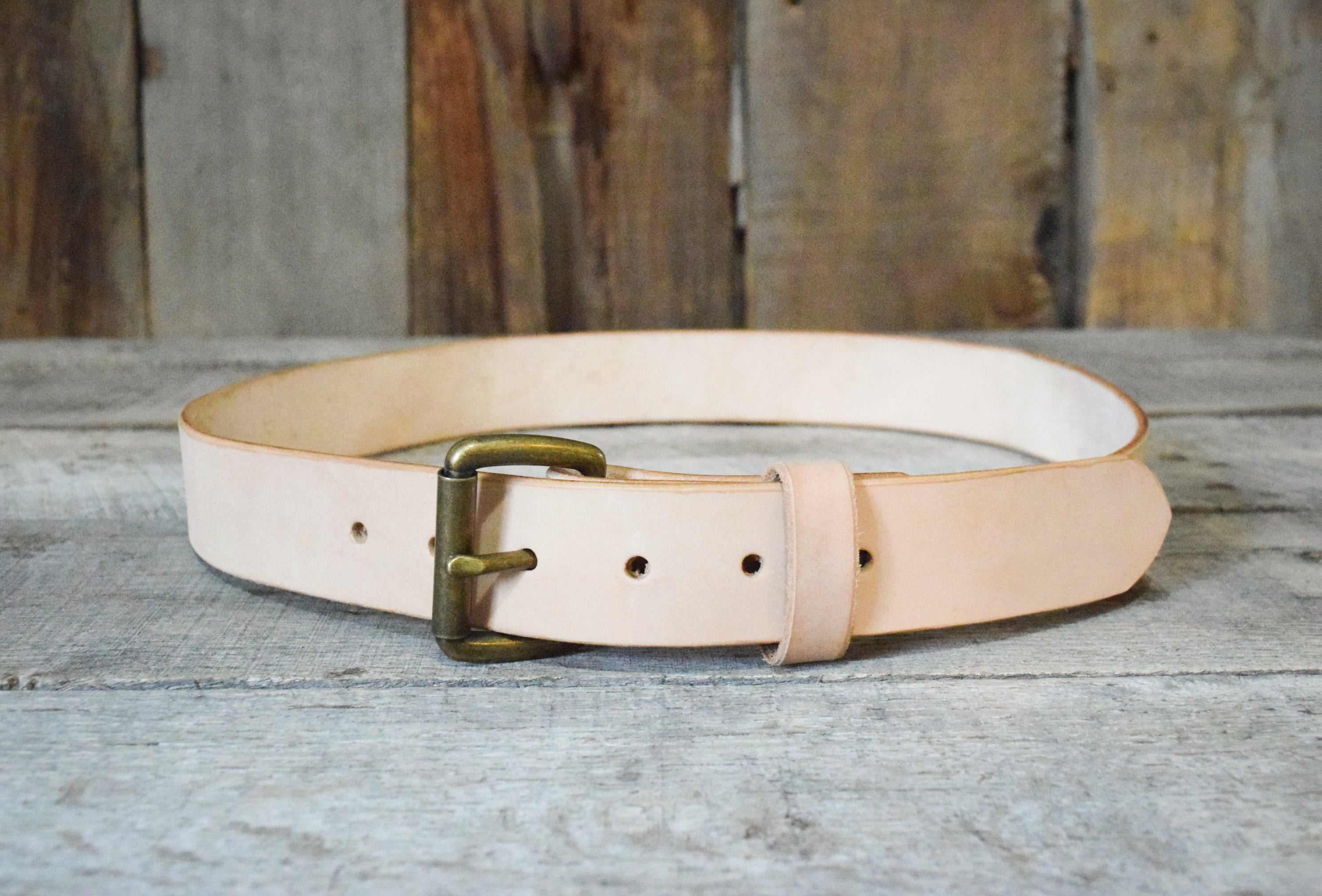 Natural Veg Tan & Antique Brass Roller Buckle