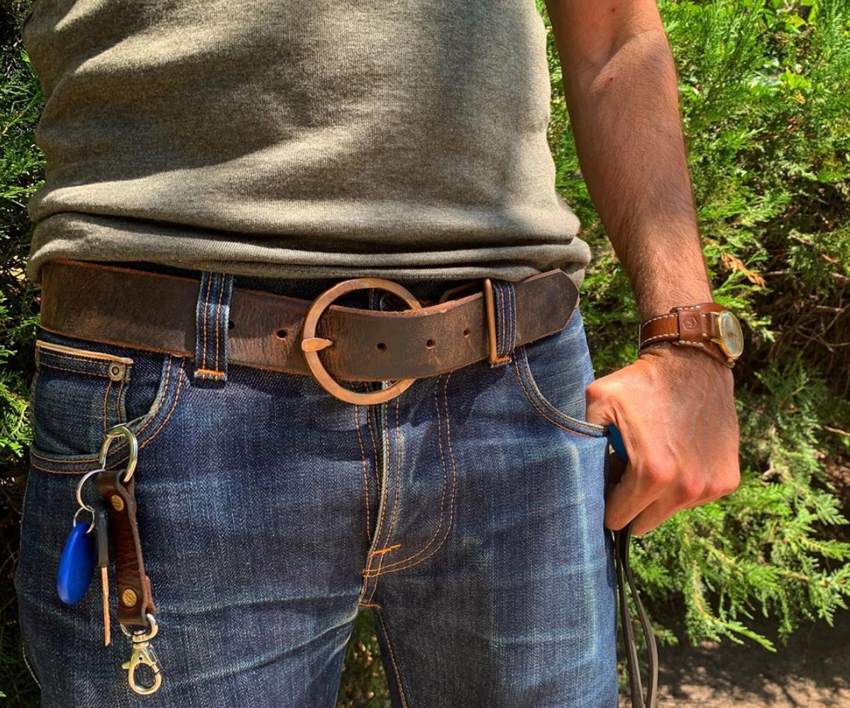 Rustic Circle Copper Buckle Belts
