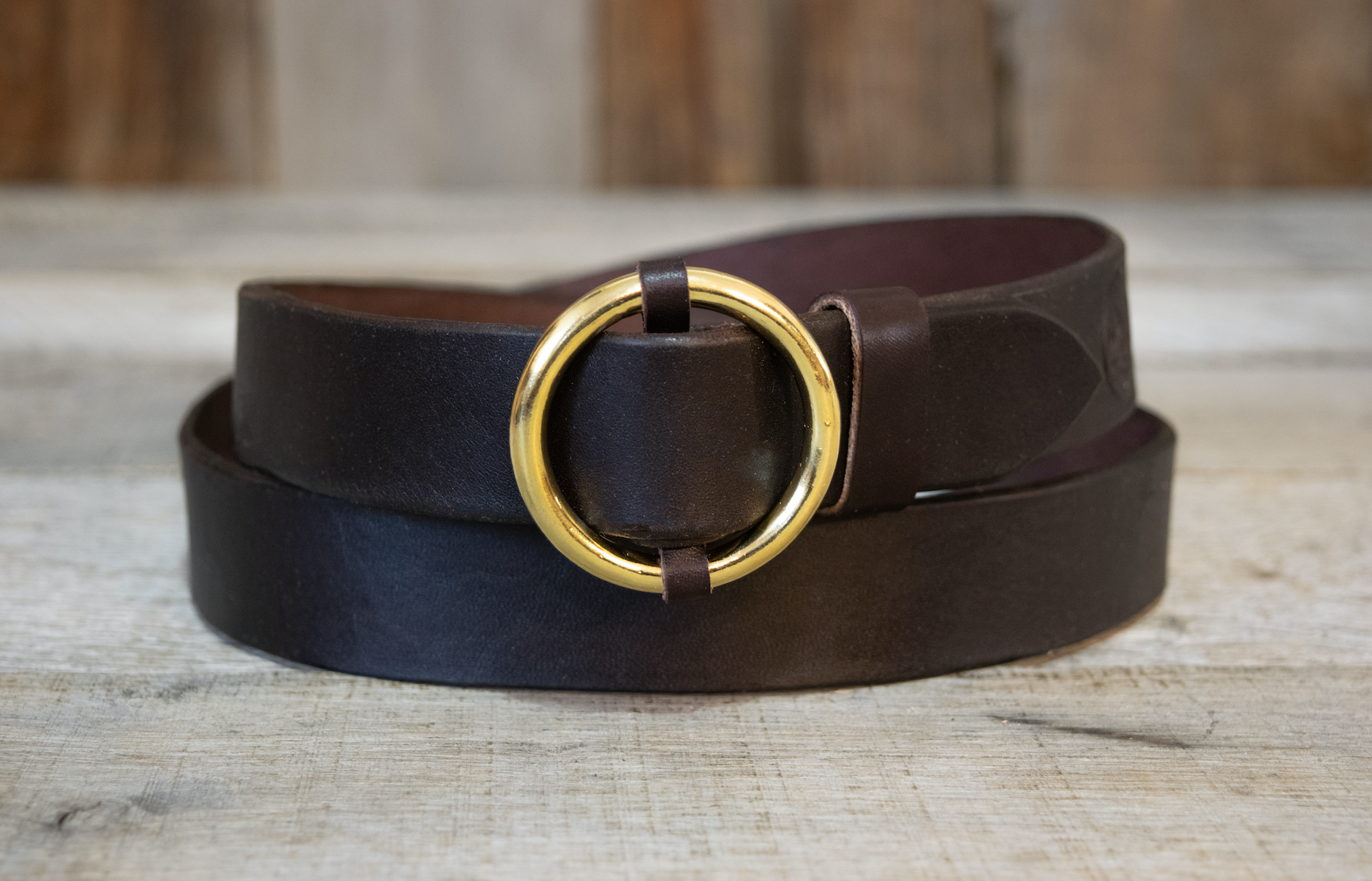 Solid Brass Circle Buckle Belts