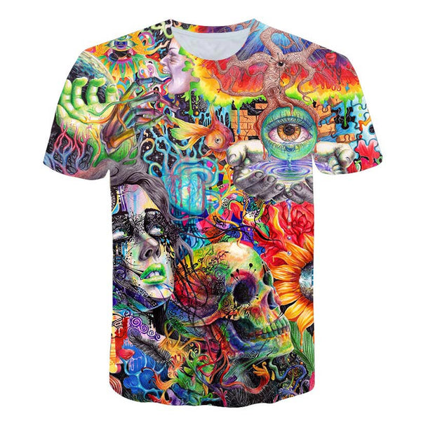 psychedelic 3d Print T shirt - PAYMUK