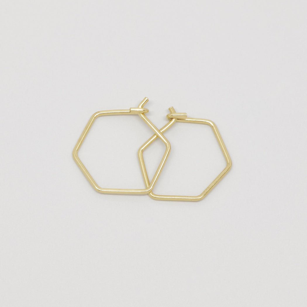 Creole hexagon hoop 24K vergoldet