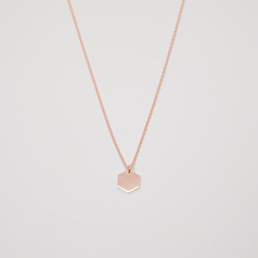 Kette Hexagon Anhänger in roségold 24K vergoldet
