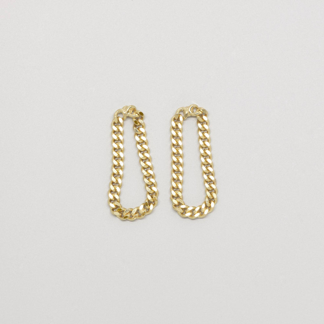 Ohrring drop chain Kette 24K vergoldet