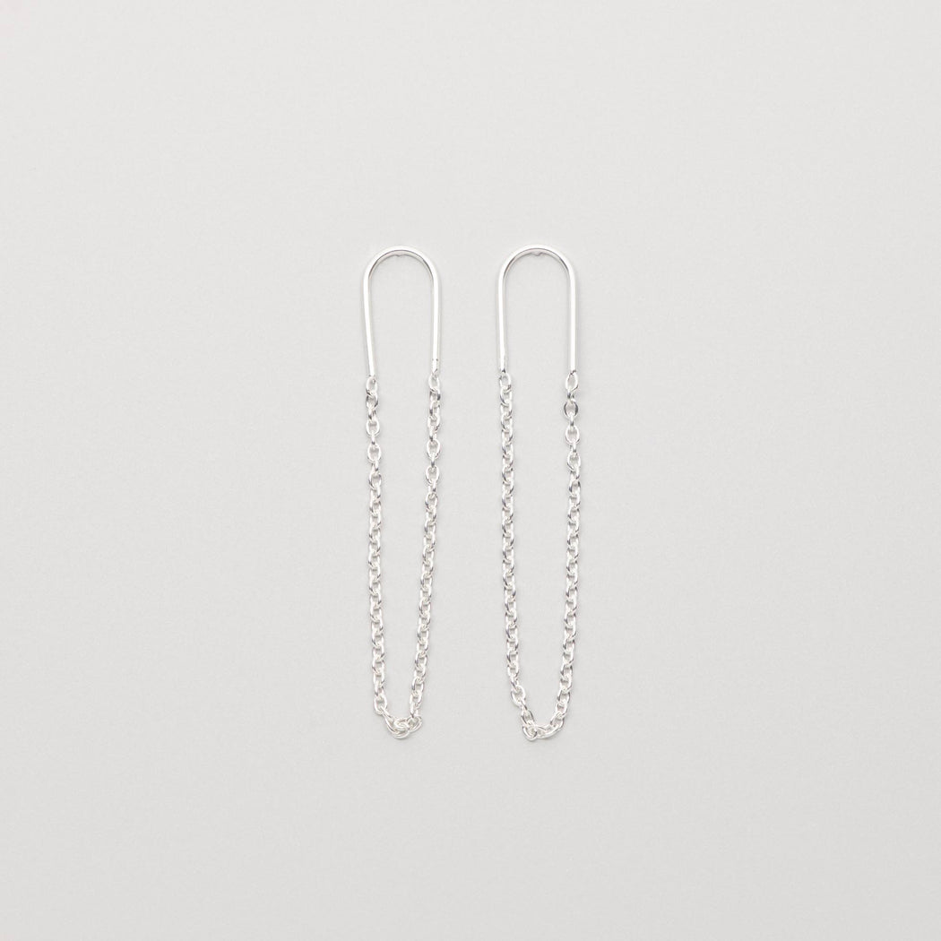 long chain stud - ohrstecker mit Kette aus sterling silber