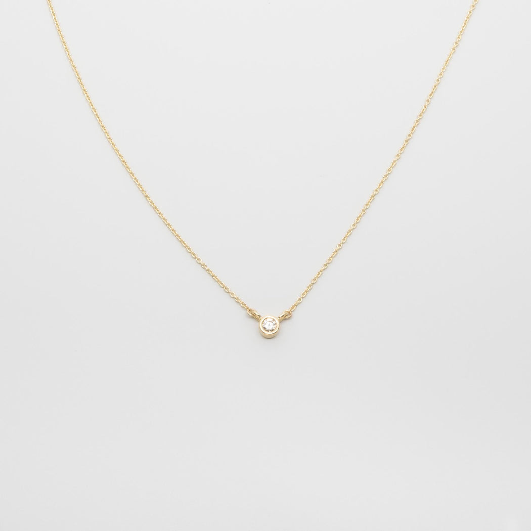 tiny diamond necklace | solid gold