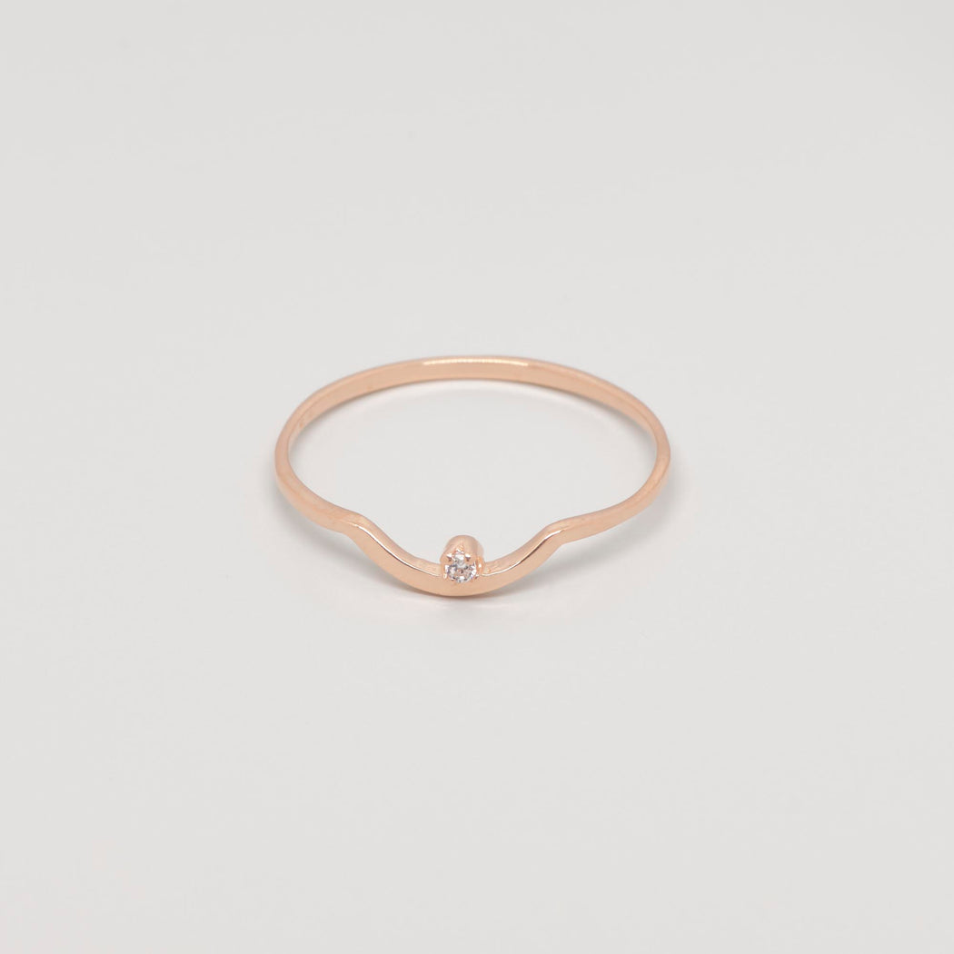 Ring circonia curved roségold