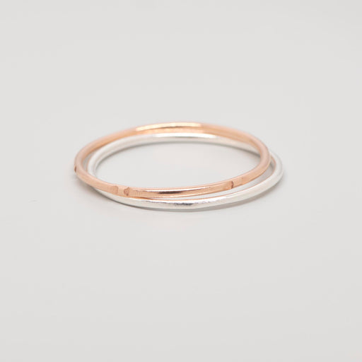 Ringset bicolor mit silber und roségold - recyceltes Silber