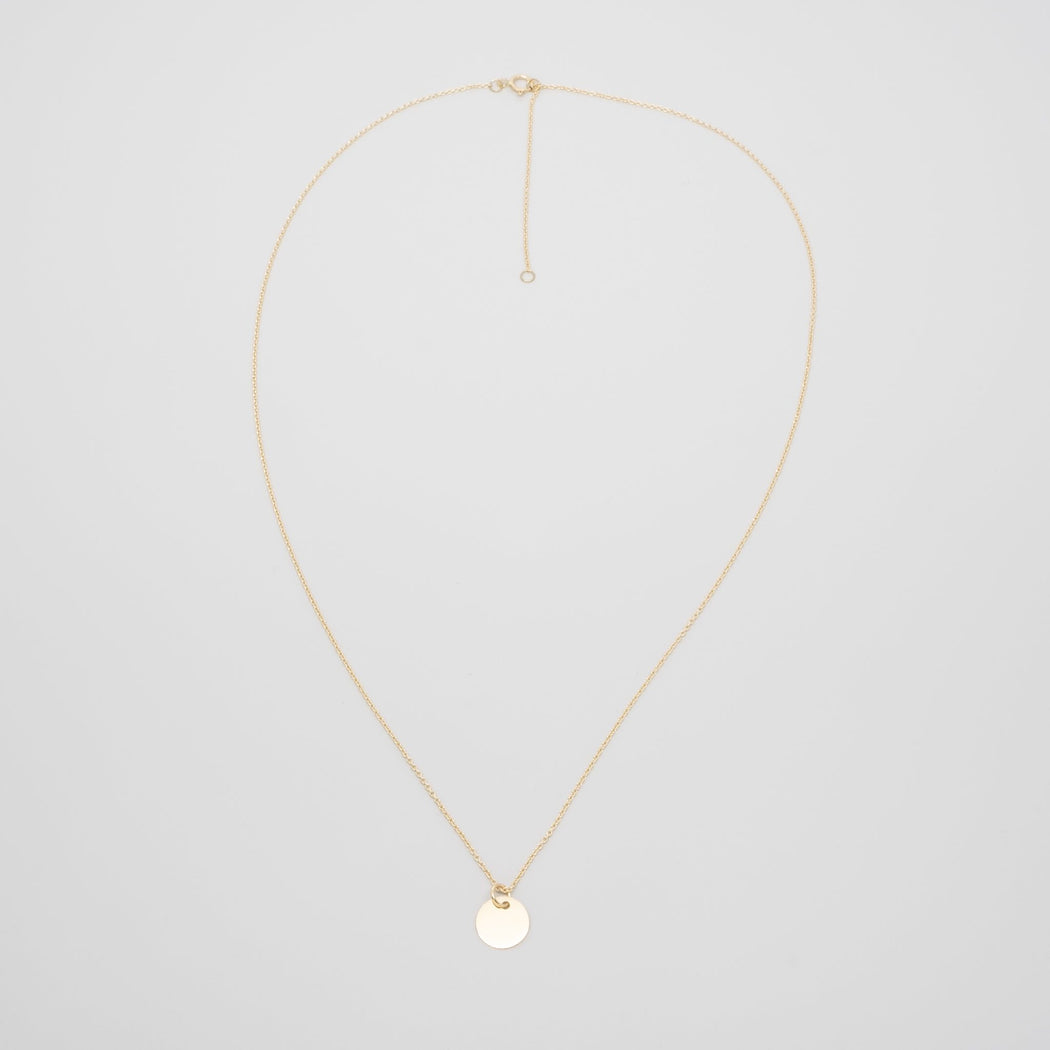 shiny disc necklace | solid gold