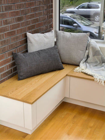 Custom Red Oak built-in bench with storage